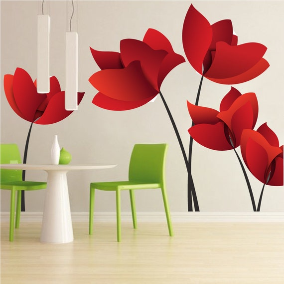 Large Flower Wall Decals Red Flower Wall Murals, Floral Wall Designs,  Reusable Flower Vinyl Decals, Cool Flower Decals, Flower Designs, A24 Part 72