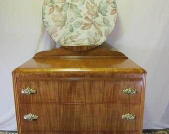 Restored Antique Waterfall Dresser With Mirror - Art Deco Design