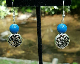 Blue glass bead and silver plated filigree dangle earrings **FREE Shipping**