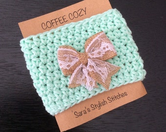 Soft cotton crochet cup cozy with lace and burlap bow, spring/summer coffee cozy