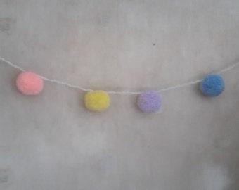 Pompom Garland, Pompom Decoration, Baby Shower Pompoms, Pastel Pompoms, Nursery Garland