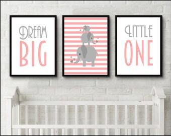 Elephant Print set, Elephant nursery, New Baby Print. Nursery Artwork. Inspirational Quote Print.