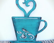 BOLD laser cut metal teacup kitchen wall art // turquoise teal // tea time // shabby chic rustic french country decor