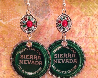 Upcycled Sierra Nevada Beer Cap Earrings, beerings, recycled style
