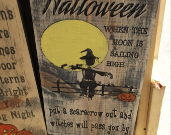 Rustic Halloween Wood Sign Scarecrow