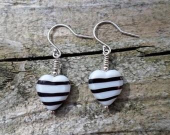 Zebra Heart Czech Glass Beads On Sterling Silver Earrings