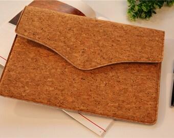 13.3 laptop sleeve , Macbook 13 sleeve , Macbook 13 , Macbook air case 13 Streamline Flap, Cork Leather Macbook pro 13 sleeve  #238