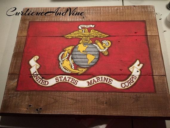 Marine Corps Man Cave Signs : United states marine corps flag usmc pallet by curlicueandvine