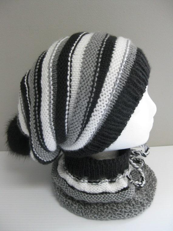 Ensemble tuque et collet pour adulte gris noir et blanc avec pompon fourrure recyclé