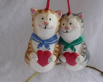 2 Christmas Cat Ornaments