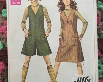 Vintage 60s Mad Men Jumper Dress -Simplicity 7821 Jumper& Pantjumper Pattern - 1960s Mod Megan Draper Dress- 60s Knee Length Dress Size 14