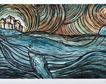 Whale and Ocean Woodcut Monoprint