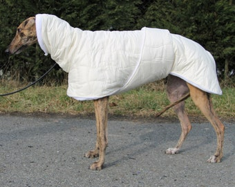 Greyhound coat, greyhound clothing, greyhound winter coat, vanile -white coat