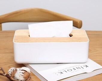 DIY Wood tissue box cover, Plain tissue box, White tissue box
