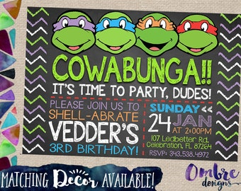 tmnt invitation | etsy, Party invitations