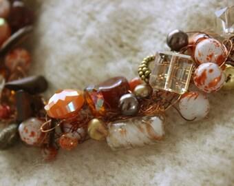Crocheted wire necklace, Orange, Brown, wire crochet jewelry, crochet bead jewelry, Wire Jewelry,  Crochet BeadNecklace, Statement Necklace