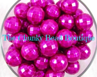 20mm fuchsia disco faceted pearl, 10 pieces
