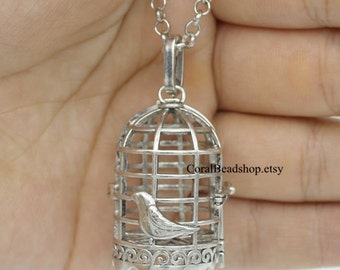 x0133- 1pcs Handmade Finished Bird Cage Opened Locket Pendant Magic Box Locket For Essential Oil Diffuser Necklace