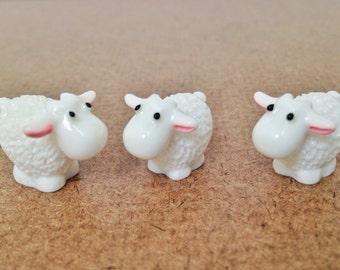 3 pcs Mini Sheep Figurines, Terrarium, Fairy Garden, Art Supply
