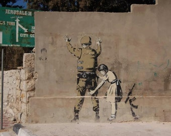 BANKSY Canvas Graffiti Girl Frisking Soldier Wall Art Print Gallery Wrapped