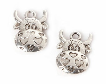 9 Cow with Hearts Charm Antique Silver Plated Charm 12*16mm [XL-61457]