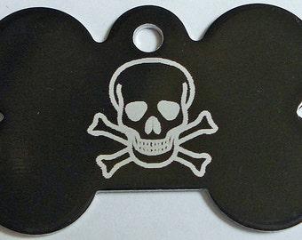 Dog ID Tag Custom Laser Engraved Personalized Pet ID Tag Skull & Crossbones Bad To The Bone