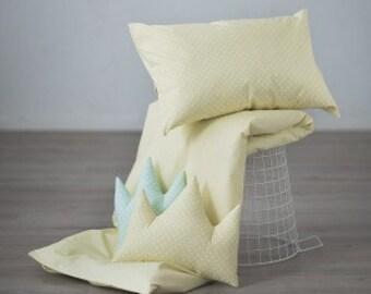 Yellow crib bedding – polka dot bedding – pastel baby nursery