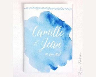 "INVITATIONS Wedding Collection ""Aqua"" watercolor hand"