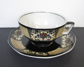 Wedgewood Art Nouveau Nanette Tea Cup Saucer/ 1920's Black Hand Painted Flower Urns, tea cup saucer, teacup, dated 1928 C1173