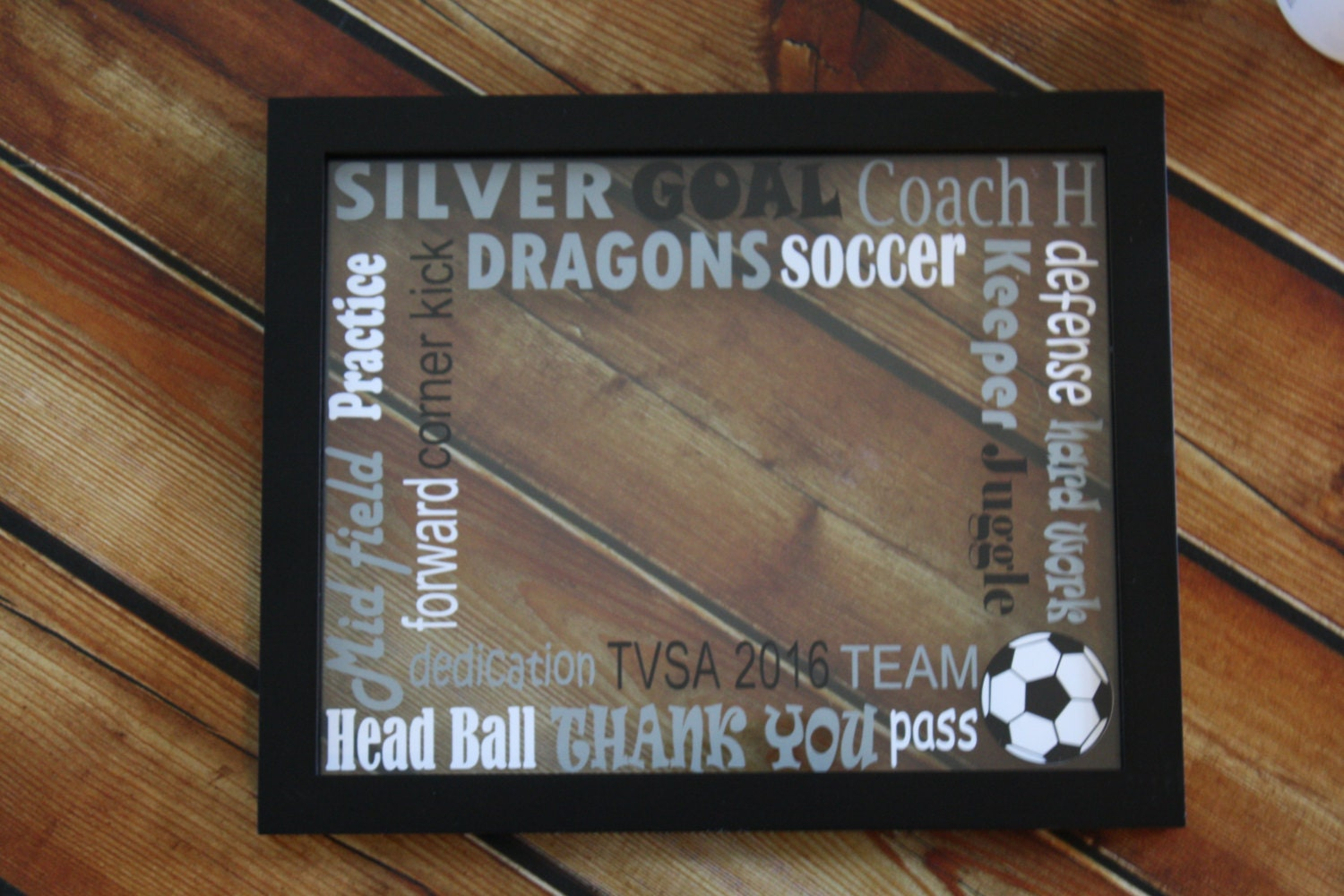 Soccer Words Glass Floating Picture Frame Soccer Team Gift