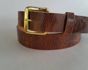 "1-1/4"" Antique Genuine Water Buffalo Leather Belt"