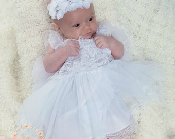 Flower Girl dress,baptism dress, White lace dress, baby girl dress, Baby dress, Christening dress, junior bridesmaid, rustic wedding dress.