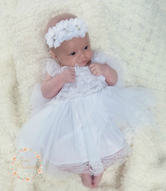 Flower girl dressbaptism dress white lace dress baby girl for Making baptism dress from wedding gown