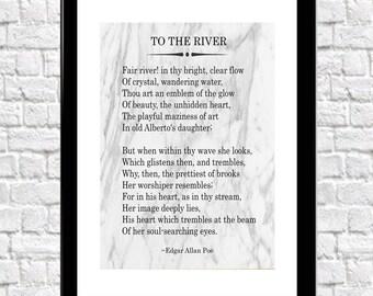 Edgar Allan Poe Poem 'To The River' Poetry Print