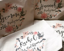 Floral Cosmetic Bags Personalised Bride, Bridesmaid and Maid Of Honour
