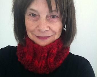 Multi Red Cowl, Neck Warmer, Wool Blend, Warm, Cosy, Winter