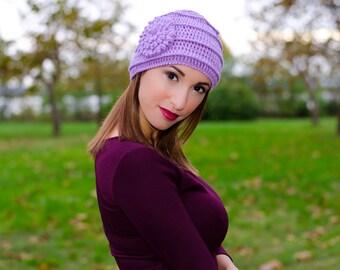 Lavender crochet flower hat, winter hats for women, ladies hats, womens knit hats, crochet beanie, womens caps, knit hat with flower