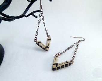 Wooden earrings, pyrographed wooden chevrons, ehtnic and modern earrings - Ethical and sustainable jewelry