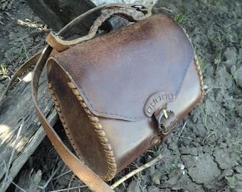 Leather bag, leather bag, vintage, women's leather bag, brown leather bag, leather shoulder bag, postman bag
