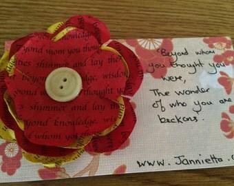 Handmade Paper Flower Brooch by Jannietta