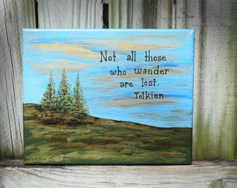 Unique Handpainted SUNRISE With Tolkien Quote on Canvas