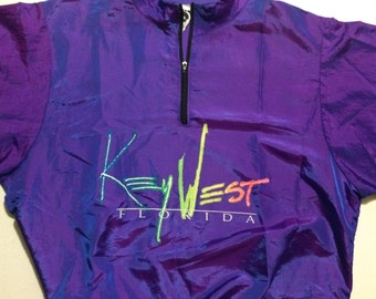 M Wise Guys Surf Style Key West Florida Purple Iridescent 1990's Pullover