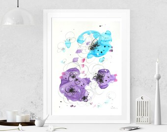 Abstract painting on paper Watercolor painting Abstract art  Modern art Original painting Abstract wall art Wall hanging Home decor Violet