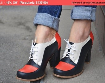 SALE - 15% OFF - Sitges - Oxford Pumps, Womens Oxfords, Casual Shoes, Heeled Oxfords, Leather Shoes, Custom Shoes, FREE customization!!!!