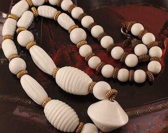 RARE DUBAUX Vintage Milk Glass Statement Necklace