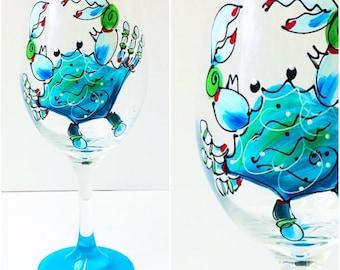 Blue Crab Glass / Wine Glass / Painted Glassware / Beach Coastal Nautical Gift / Custom / Original Gift / Blue Aqua / FREE SHIPPING on 7+