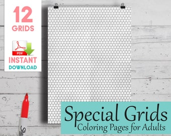 Isometric and Special Coloring Grids - 12 Pages - Make your own isometric, geometric and puzzle drawings!