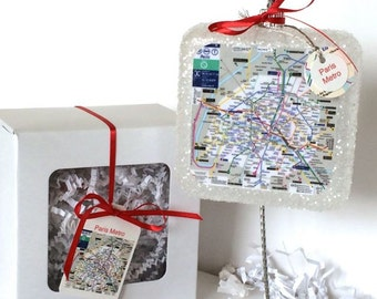 Paris Metro Map Inspired Glass Christmas Ornament