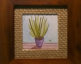"House Plant Original Mini Watercolor Painting 2"" x 2"""