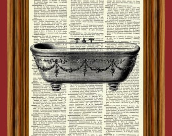 Vintage Clawfoot Bathtub Dictionary Art Print Poster
